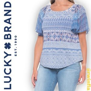 Lucky Brand Woven Mix Shirt BOHO Short Sleeve NWT